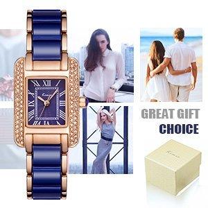 voeons luxury analog japanese movement quartz wrist watch classic blue ladies bracelet watch of stainless steel