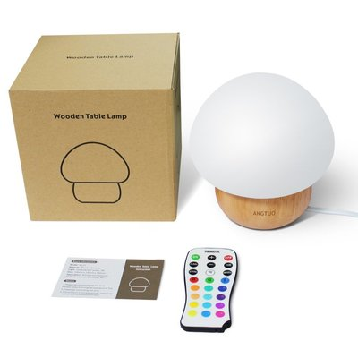 angtuo mushroom lamp with natural wood base, remote control, 16 color change and 4 light modes great night lights for kids