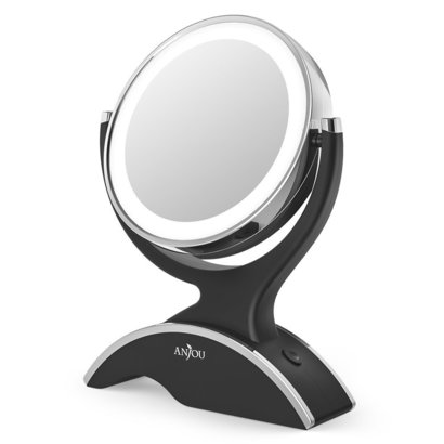 anjou lighted makeup mirror 7x magnification mirror with led light and double side 360° rotation includes 3 batteries