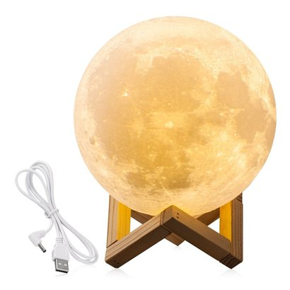 cpla 7.1 inchs lighting 3d moon lamp with touch button for adjust bright and usb charging
