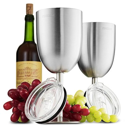 finedine stainless steel stemmed wine glass set of two glasses and two leak resistant lid