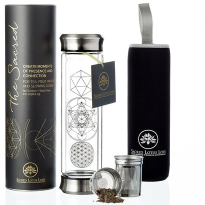 sacred lotus love sacred glass tea tumbler and travel flask with stainless steel strainer and infuser includes poem and gift card 13.5 oz