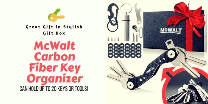 MCWALT Key Holder Organizer Made of Premium Carbon Fiber Can Hold 20 Keys