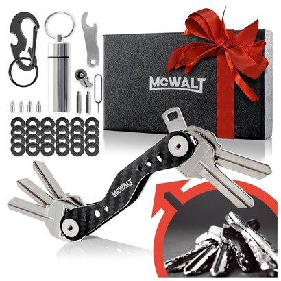 mcwalt key holder organizer made of premium carbon fiber can hold 20 keys - great gift for men in stylish gift box