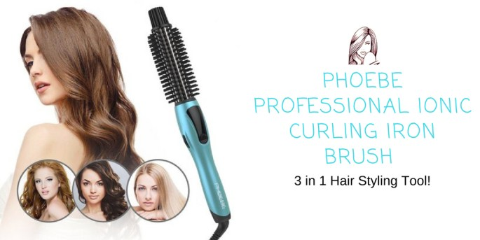 PHOEBE Professional Ionic Curling Iron Brush 3 in 1 Hair Styling Tool