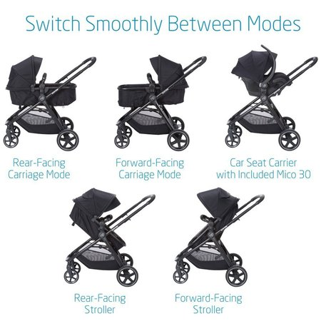 maxi-cosi zelia 5-in-1 modular travel system includes mico 30 infant car seat with side impact protection