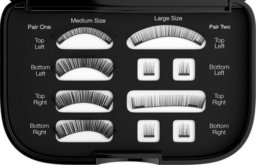 nylea magnetic fake lashes two size durable and re-usable false eyelashes includes carrying case with mirror