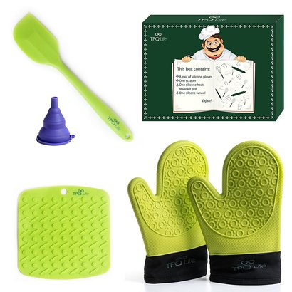 tpq life 5 pcs silicone kitchen set includes pair of gloves, spatula, table placemat and silicone funnel - perfect gift for mother's day