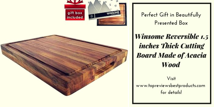 Winsome Reversible 1.5 inches Thick Cutting Board Made of Acacia Wood – Perfect Gift in Beautifully Presented Box