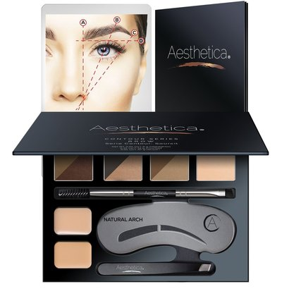 aesthetica 16 piece brow contour kit with six different shades for beautiful brows you've always wanted includes stencils, tweezers, brow brush, and instructions