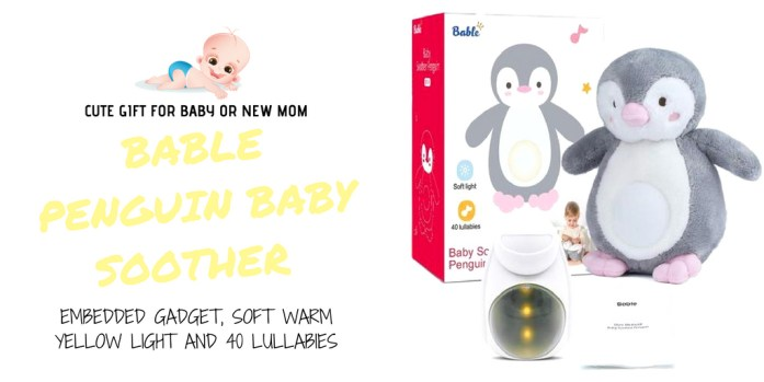 Bable Penguin Baby Soother with Embedded Gadget, Soft Warm Yellow Light and 40 Lullabies