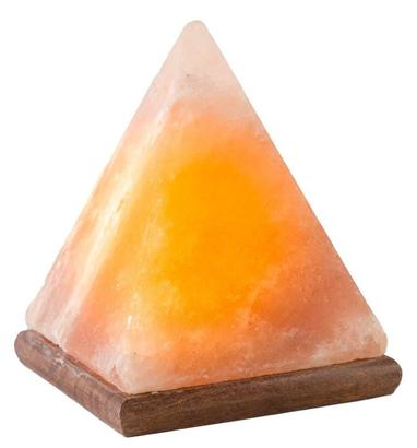 hemingweigh hand crafted pyramid shape natural himalayan rock salt lamp with wooden base and glowing light of orange and yellow