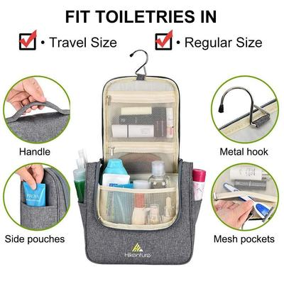 hikenture hanging travel toiletries bag with zippered pockets and pouches - multipurpose waterproof cosmetics toiletry organizer bag