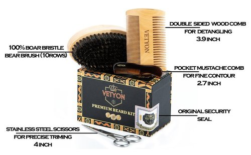 vetyon complete premium beard grooming kit includes natural beard brush, beard comb, pocket mustache comb and stainless steel scissors