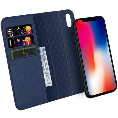 zover iphone x detachable 100% genuine leather wallet case with 3 slots, magnetic closure and bumper design absorption shock