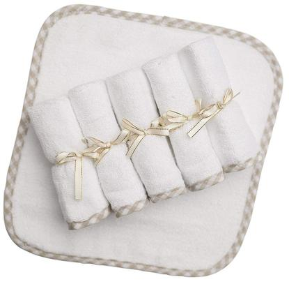 """channing & yates naturally hypoallergenic and antibacterial premium baby washcloths set (6-pack) 10""""x10"""" absorbs 60% more"""