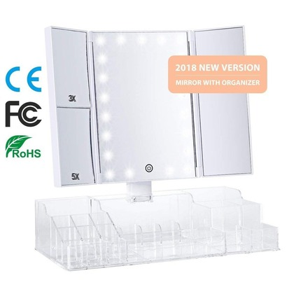 vicooda dimmable led tri-fold lighted vanity mirror with makeup organizer, 180° rotation and usb charging