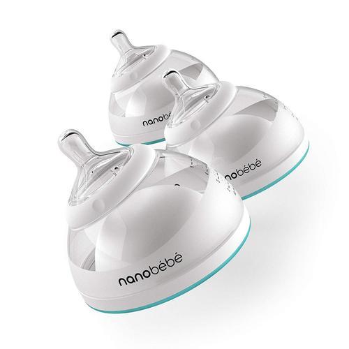 award winning anti-colic nanobébé breastmilk bottle - breast pump adaptor included 3 pack