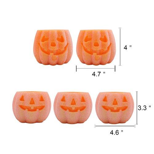 DRomance Halloween Battery Operated Pumpkin Flameless Candles with Timer
