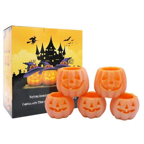 DRomance Halloween Pumpkin Flameless Candles with Timer
