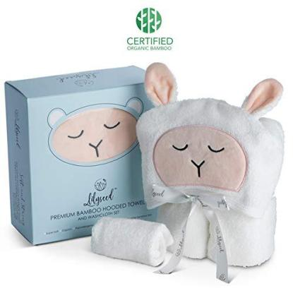 Lilyseed Antibacterial and Hypoallergenic Premium Bamboo Lamb Face Hooded Towel and Washcloth Set Packaged in a Stunning Gift Box