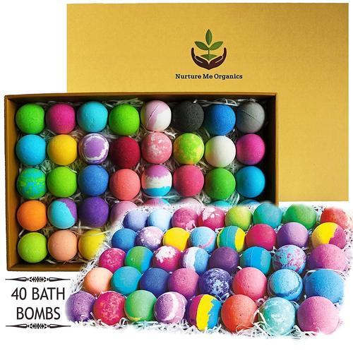 Nurture Me Organics Handmade 40 pcs Lush Bath Bombs Presented in Beautiful Gift Box