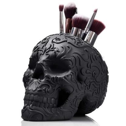 Spooky Gift Skull Makeup Brush Holder from Wicked Vanity Beauty