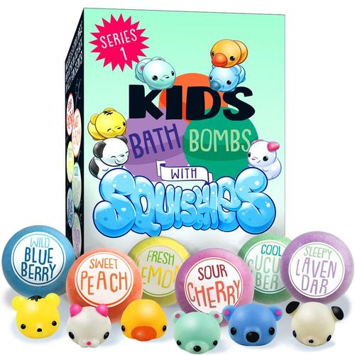luluburd 6 extra large all natural gluten free no additives fizzzy bath bombs with toys for kids