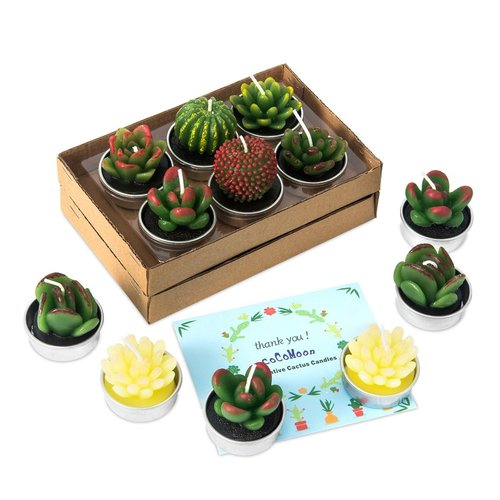 CoCoMoon 12 pcs Different Shape Decorative Cactus Candles in Metal Tealight Holders