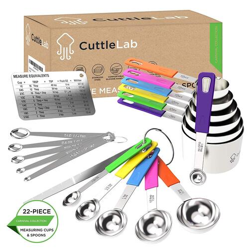 CuttleLab 22 pieces quality-grade stainless steel measuring cups and spoons