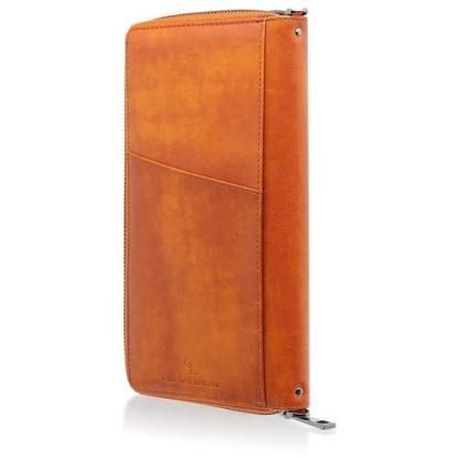 Gallaway Leather Travel Wallet with 2 Slot Passport Holder, 8 Card Holder, Document Sleeve, Pen Holder, Zipper Pocket