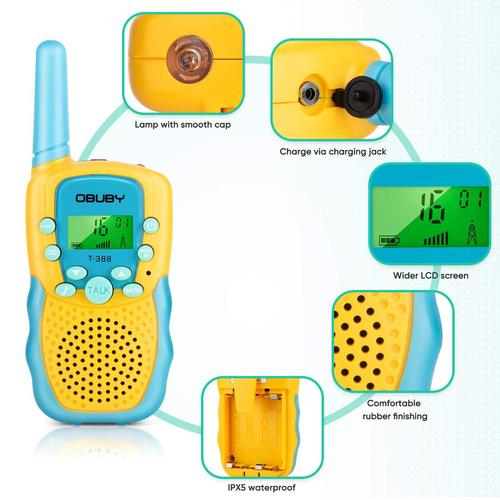 Obuby Walkie Talkie for Kids with 3 km Range, LCD Backlight Display, and 2-way Communication