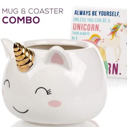 Unicorn Mug and Ceramic Coaster by Infloatables