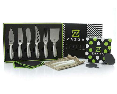 elegantly designed stainless steel cheese knives and natural slate markers set by zazza