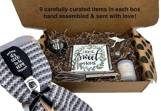 hey, it's your day gift box co housewarming gift with 9 carefully curated items for home and kitchen