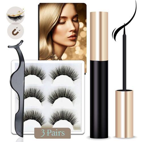 Arishine 3 pairs Waterproof Magnetic Eyelashes with Eyeliner