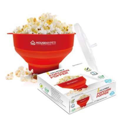 BPA free Collapsible Silicone Popcorn Popper Bowl with Cool Touch Handle and No Mess Lid by Housewares Solutions