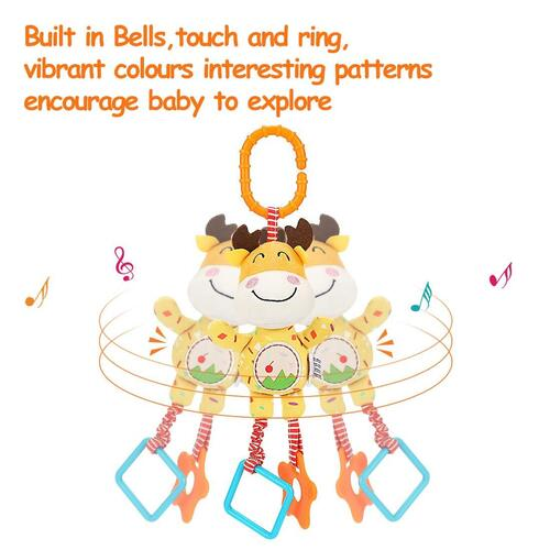TUMAMA 4 pieces Cute Animals Plush Baby Rattle Toys with Teethers Great Gift for Newborn Baby