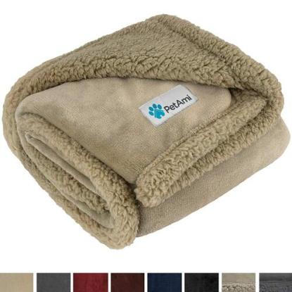 premium flannel fleece and reversible sherpa pet blanket for dogs and cats by PetAmi
