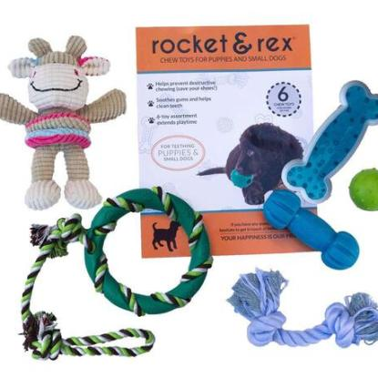 rocket & rex Cotton and Rubber Chew Toys for Puppies and Small Dogs