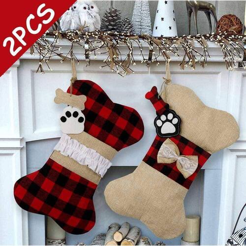 AerWo Large 2pcs Dog Christmas Stockings