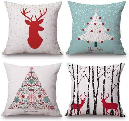 Asamour 4 pcs Cotton Christmas Pillow Covers with Hidden Zipper Closure