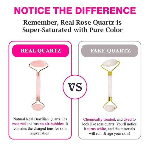 MoValues Quartz Jade Roller Rose Crystal Skincare Kit