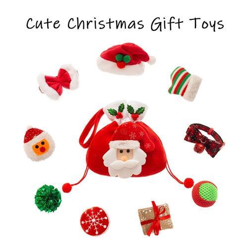 PUPTECK 9 pcs Christmas Cat Plush Toys, Balls, Hat and Tie Suit