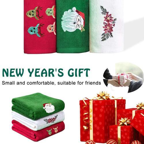 Yuntec Christmas 3pcs Soft Cotton Towel for Kitchen or Bathroom