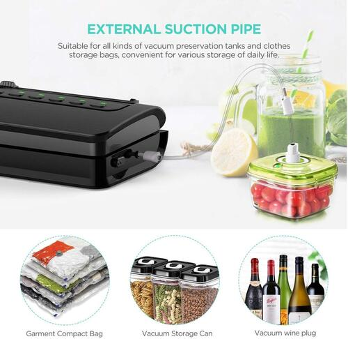 ABOX V63 Food Vacuum Sealer with Built-in Cutter, Removable Drip Tray, and Roll Bag Storage Design