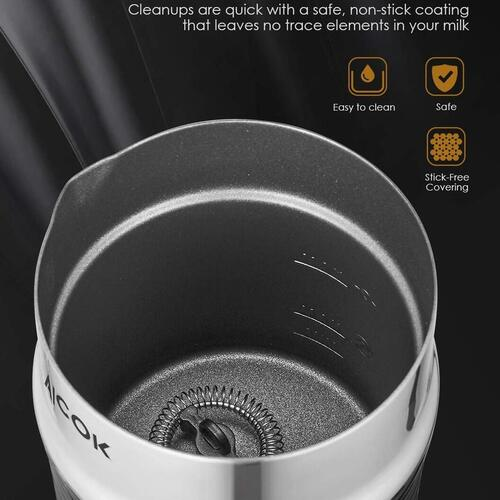 AICOK Electric Milk Frother for lattes, cappuccinos, coffee, hot chocolates, macchiatos, flat whites