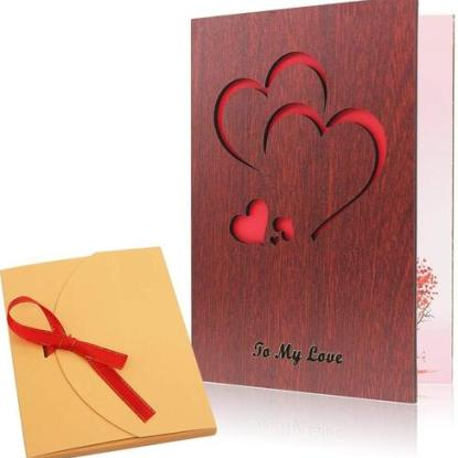 Creawoo Handmade Walnut Wood Valentine' Day Greeting Card