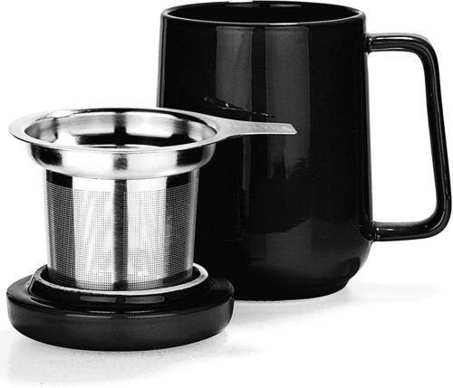 Tealyra Peak 19oz Ceramic Tea Cup with Stainless Steel Infuser, Ceramic Handle and Lid