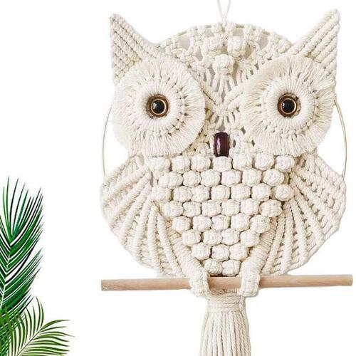 Achart Handmade 100% Top Notch Cotton Macrame Owl Wall Hanging